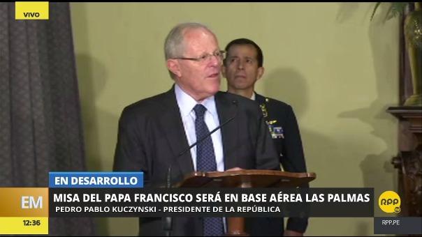 PPK dijo que en su visita al papa Francisco hablaron sobre la sede de la misa y le explicó las ventajas de elegir Las Palmas.