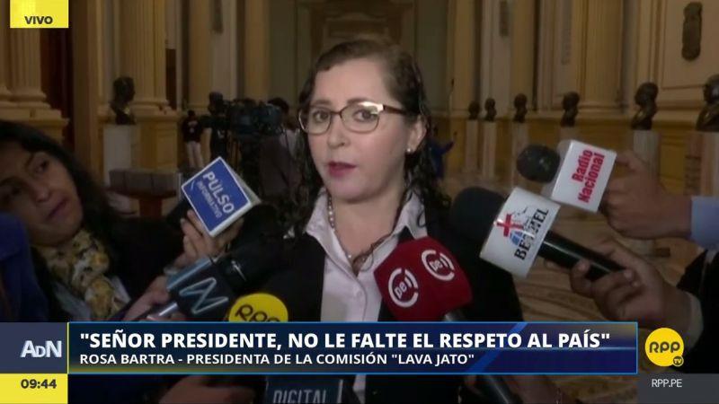 Rosa Bartra emplazó a PPK a aceptar la citación que le ha enviado la Comisión Lava Jato.