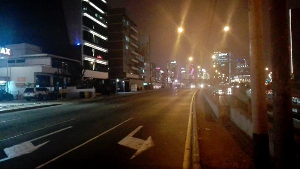 La avenida Paseo de la República también lució sin ningún vehículo.