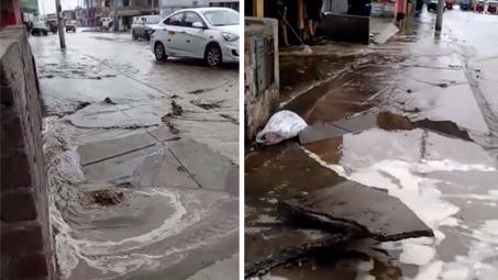 Ruptura de tubería de agua potable dejó viviendas inundadas en Villa El Salvador