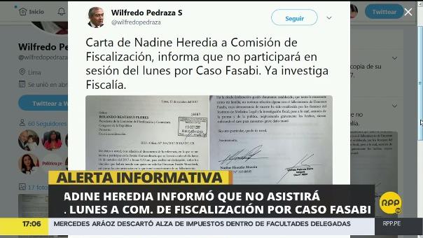 El abogado de la ex primera dama envió la carta al parlamentario Rolando Reátegui, presidente de la COmisión de Fiscalización del Congreso.