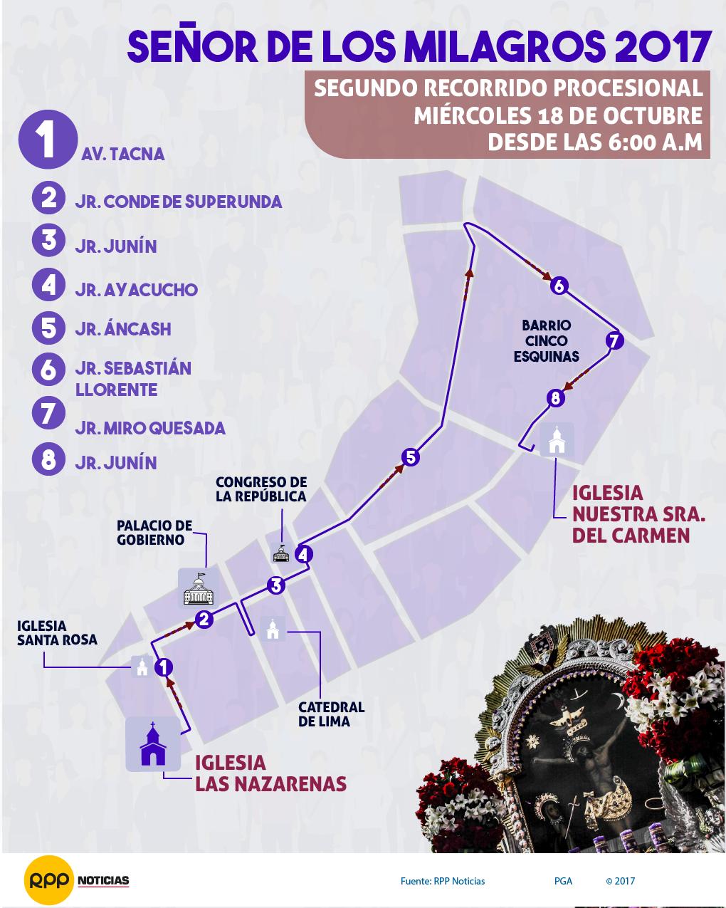 Este será el segundo recorrido de octubre del Señor de los Milagros
