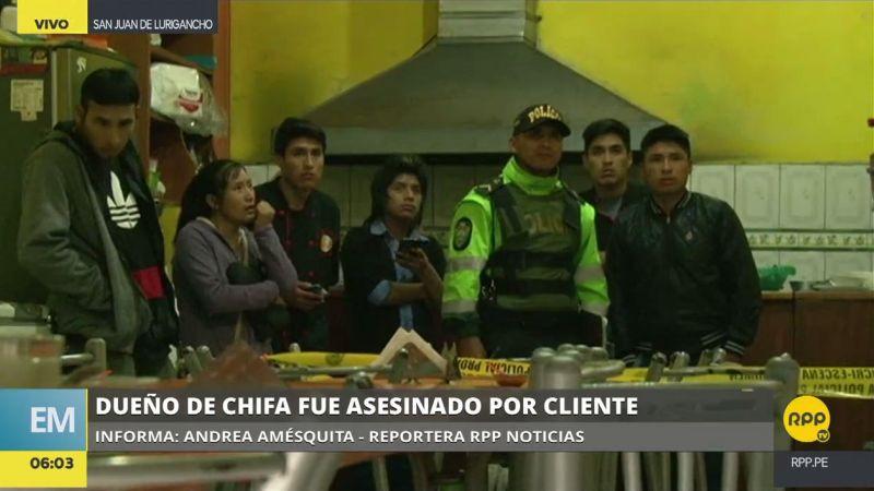 El crimen ocurrió en un chifa de la cuarta cuadra de la avenida Santa Rosa, en San Juan de Lurigancho.