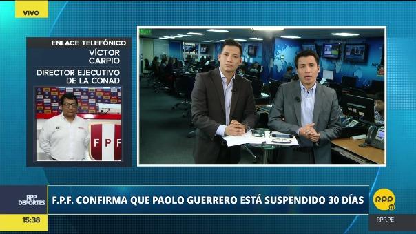 Para Víctor Carpio, miembro de la Comisión Nacional Antidopaje, la FIFA optó por sancionar a Guerrero luego de que se violó la confidencialidad de la situación y se mediatizó el caso.