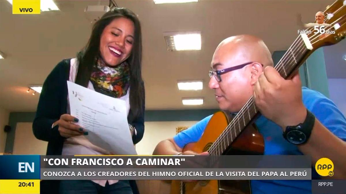 Oscar y Elizabeth Quiñones son los creadores del himno de la llegada del papa Francisco.
