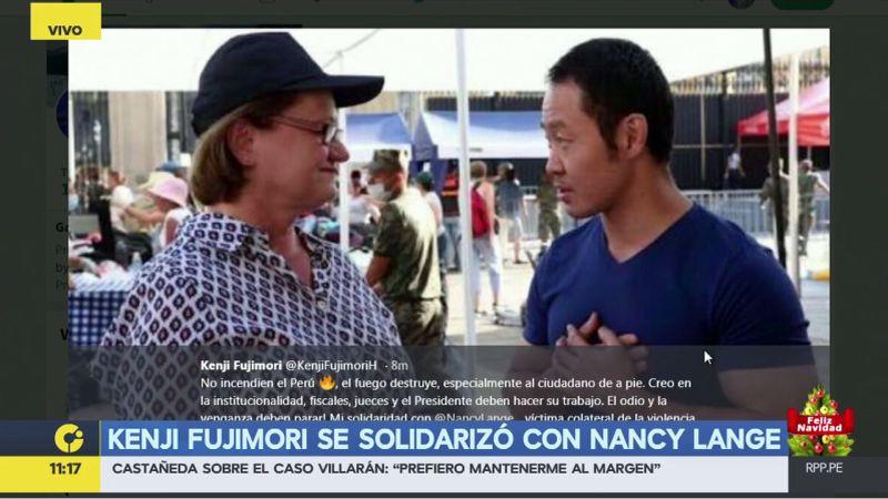 """Kenji Fujimori se solidarizó con Nancy Lange, a la que calificó como una """"víctima colateral de la violencia política""""."""