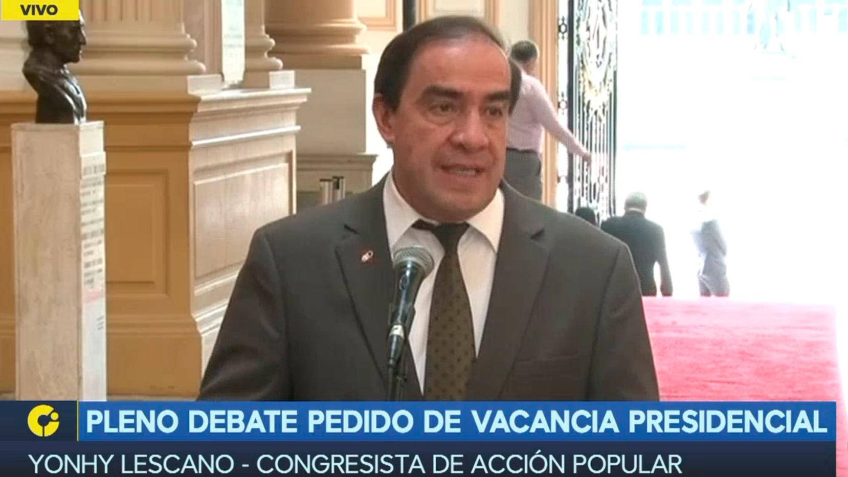 """Lescano: """"Cuatro congresistas de Acción Popular no vamos apoyar la vacancia"""""""