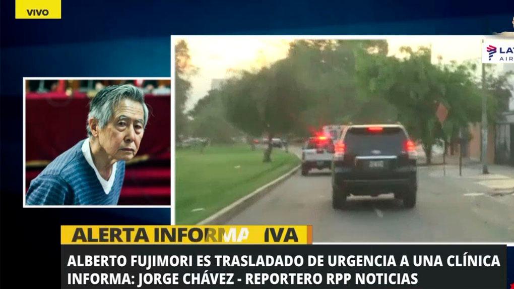 La ambulancia que traslado a Alberto Fujimori fue seguido por patrulleros y vehículos de prensa.