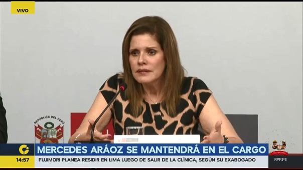 Mercedes Aráoz descartó renunciar a su cargo como presidenta del Consejo de Ministros.