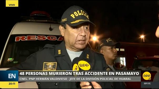 El coronel Hermán Valdivieso confirmó la cifra de 48 muertos.