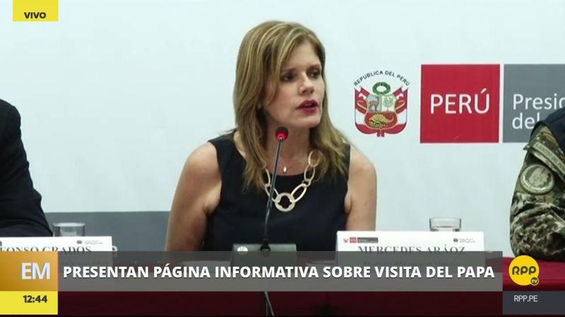 Mercedes Aráoz participó en la presentación esta tarde de la página informativa sobre visita del papa.