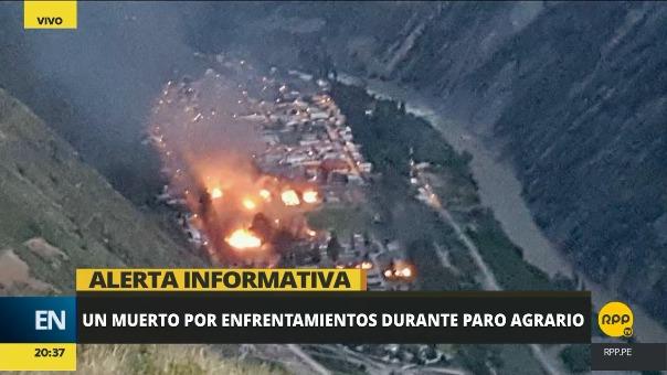 Los manifestantes quemaron casas en el campamento de Tablachaca en el distrito de Quichuas (Huancavelica).