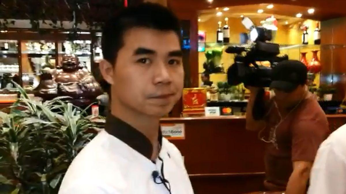 Liu Xiunhuan recibió este miércoles a la prensa en su local.