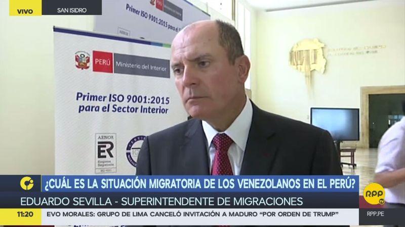 Eduardo Sevilla informó que estos ciudadanos pueden quedarse en Perú por un periodo de 183 días.