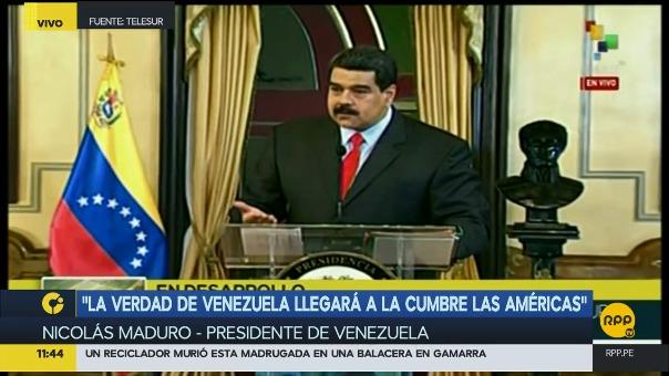 El anuncio de Maduro en el que prometió estar en Lima para la VIII Cumbre de las Américas.