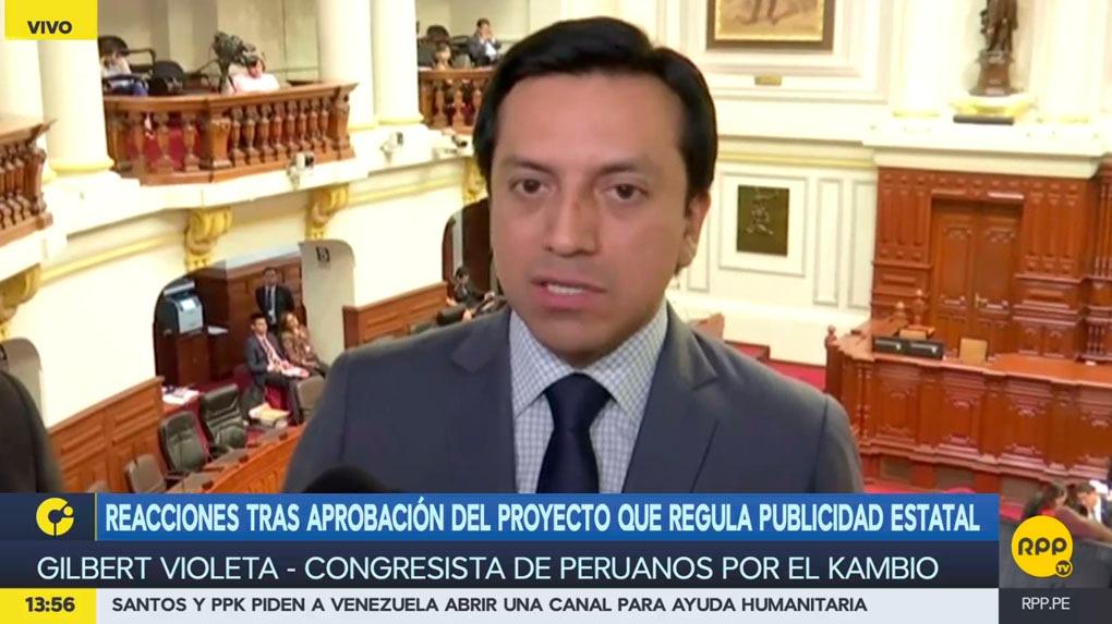 El congresista Gilbert Violeta se manifestó sobre los aportes a la campaña de Pedro Pablo Kuczynski.