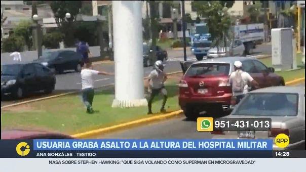 Usuaria grabó asalto a la altura del Hospital Militar