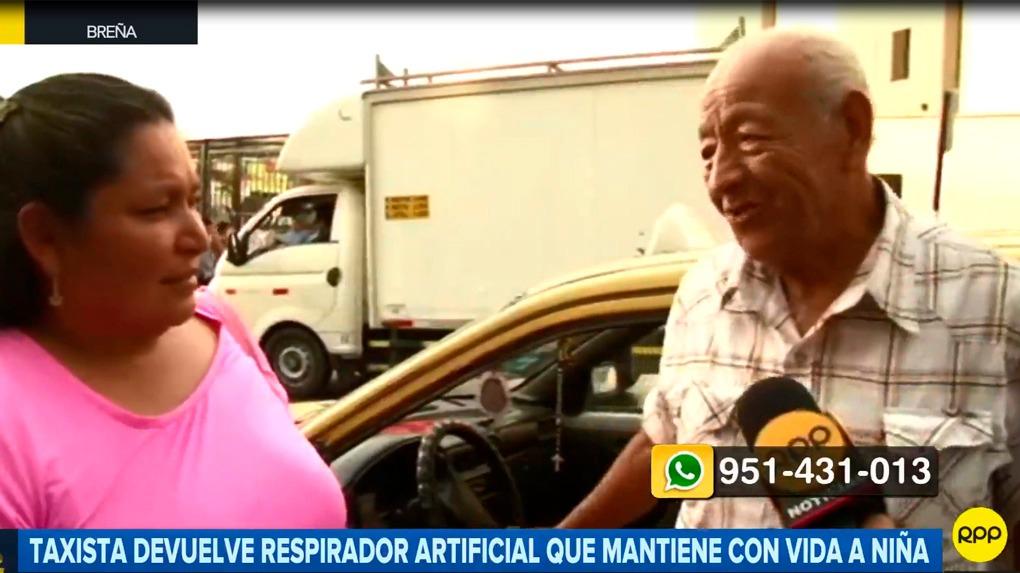 Luby Cotrina, madre de la menor, agradece al taxista que devolvió el respirador artificial de su niña.