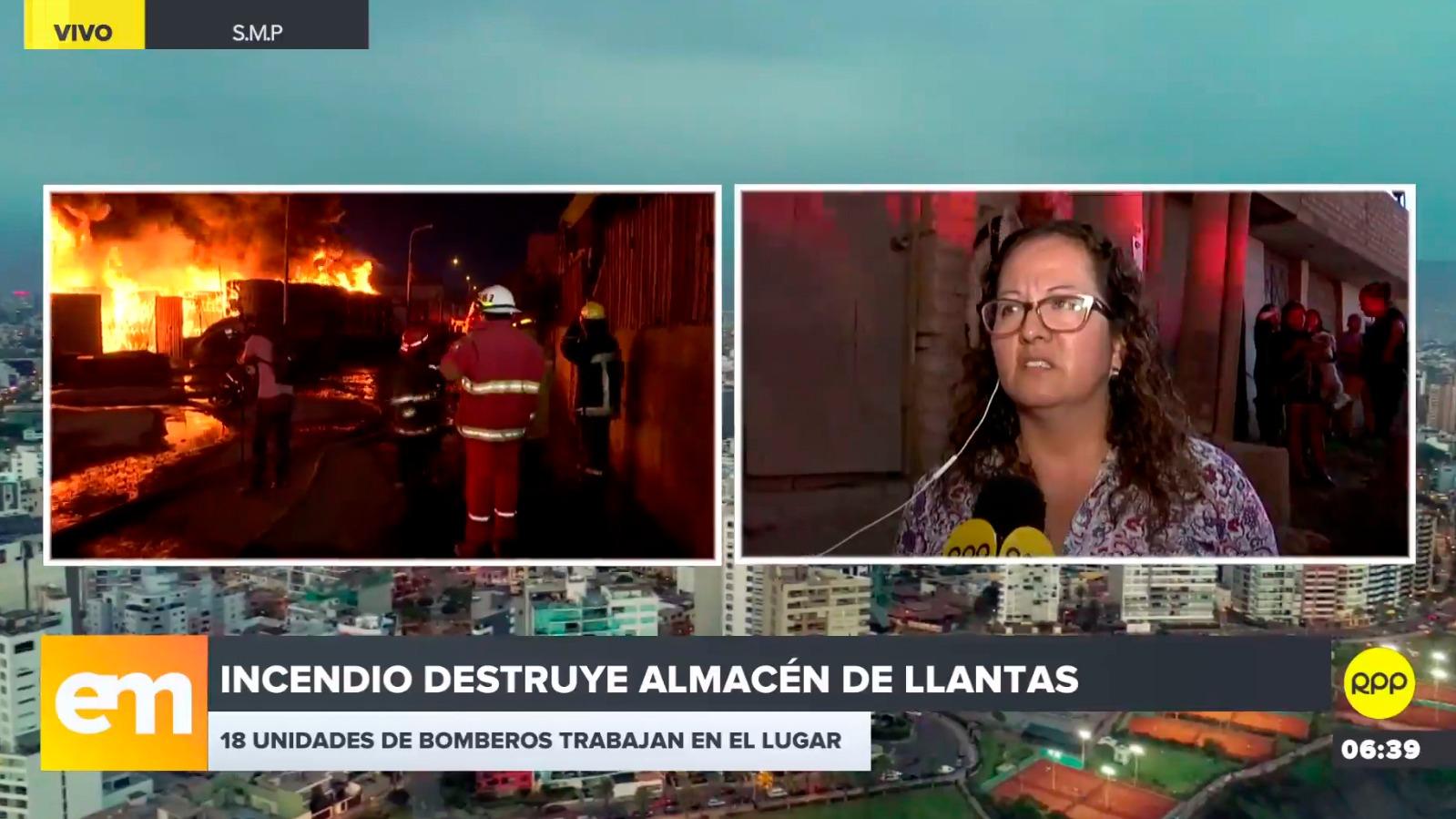 Hasta 18 unidades de bomberos trabajan para apagar el incendio que destruye depósito de llantas