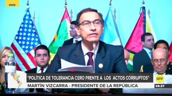 Presidente del Perú, Martín Vizcarra en la VIII Cumbre de las Américas.