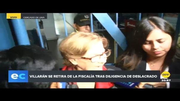 Susana Villarán declaró brevemente a la prensa a su salida de la Fiscalía Anticorrupción.