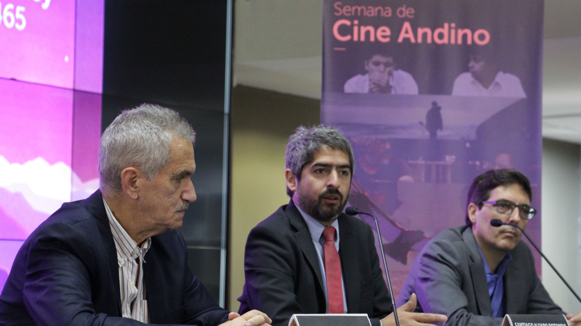 La Semana de Cine Andino fue presentada por Daniel Desaloms, director artístico del Festival de Cine de Altura; Santiago Alfaro, director general de Industrias Culturales y Artes del Ministerio de Cultura; y, Fernando Juan Lima, vicepresidente del Instituto Nacional de Cine y Artes Audiovisuales.