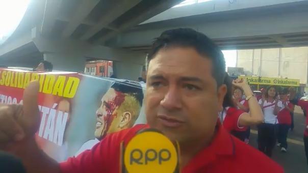 César Fernández, presidente del club Alianza Moche, organizador de la marcha.