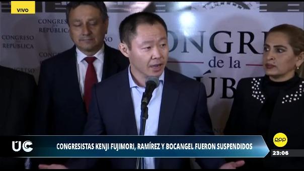 Kenji Fujimori declaró a la prensa tras su suspensión.