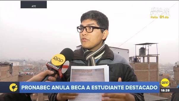 Reyes Rivera Cotrina pidió a Pronabec que evalúen su caso.