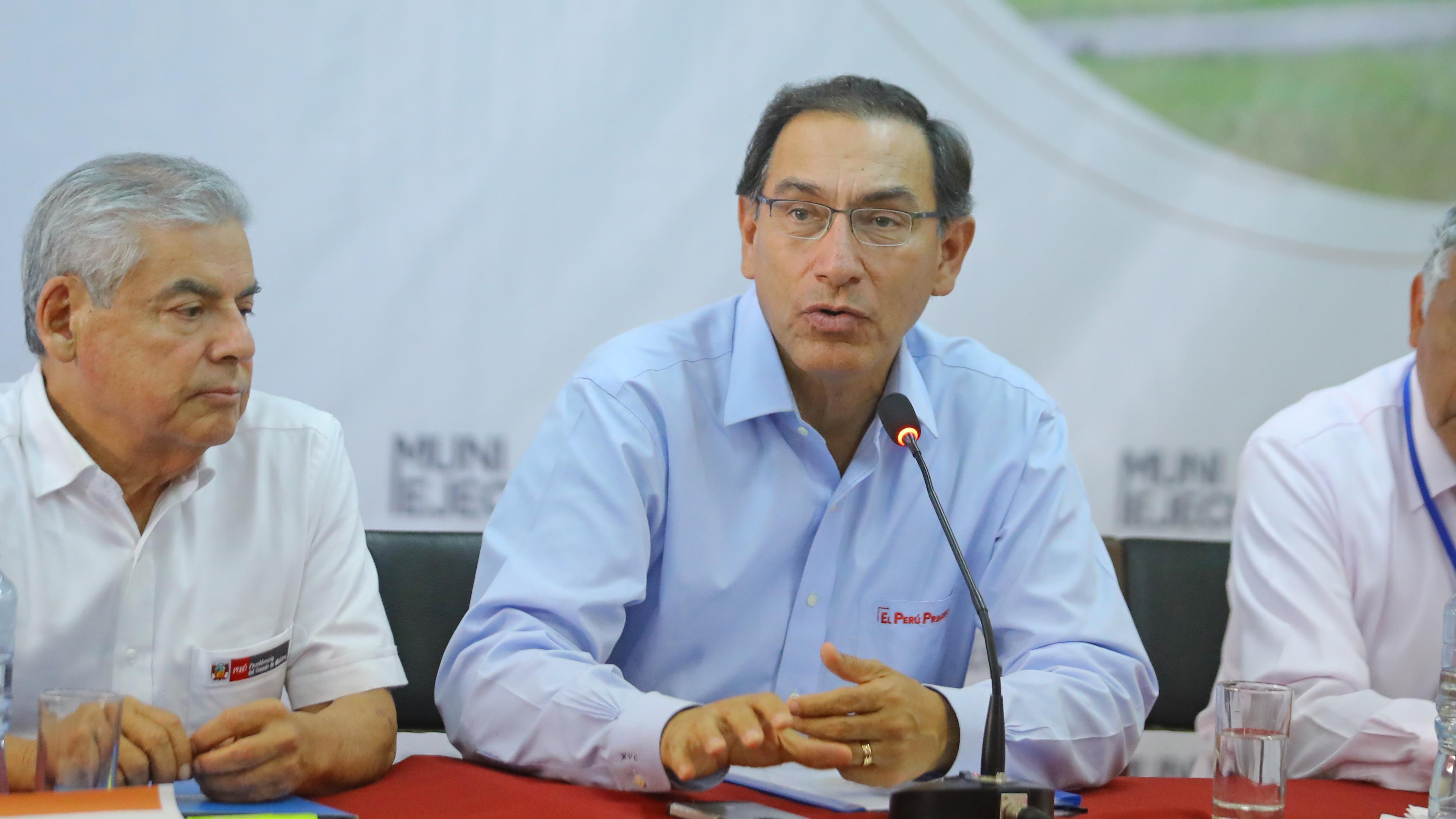 Presidente Vizcarra brinda conferencia de prensa tras finalizar Muni Ejecutivo en Chimbote (Áncash).