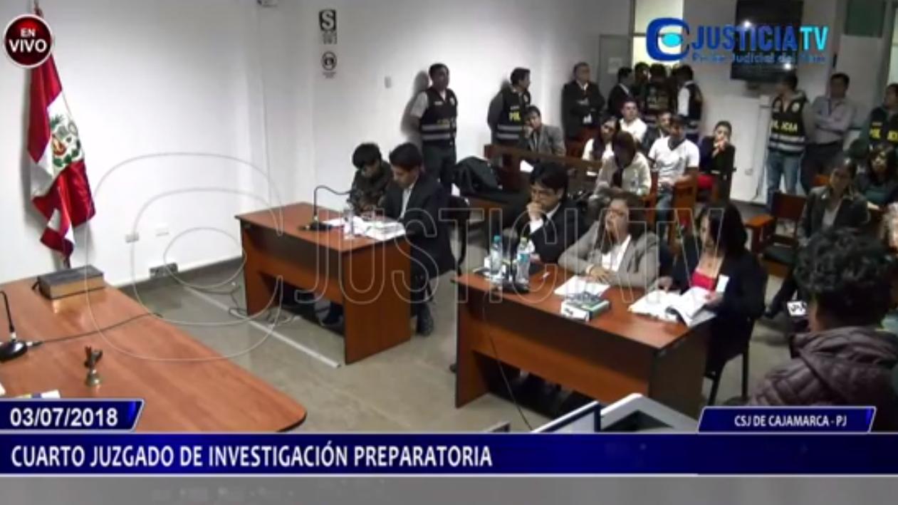 Audiencia del pedido de prisión preventiva contra Esneider Estela Terrones en Cajamarca.