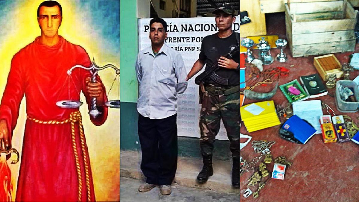 Imagen de 'Príncipe Gurdjieff' difundida por Manrique (izquierda). Manrique tras su detención en Satipo (centro) y algunos de los cuadernos y artefactos encontrados en el lugar.