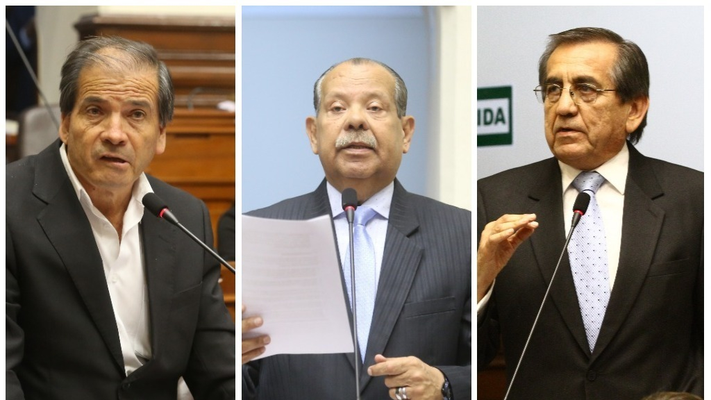 Los legisladores Wilbert Gabriel Rozas, Octavio Edilberto Salazar y Jorge del Castillo
