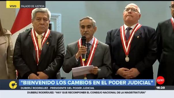 Duberlí Rodríguez anunció que liderará una comisión integrada por cinco jueces supremos. Además, dijo que no se opone a las reformas que realicen en el Poder Judicial la comisión anunciada por el presidente Martín Vizcarra.
