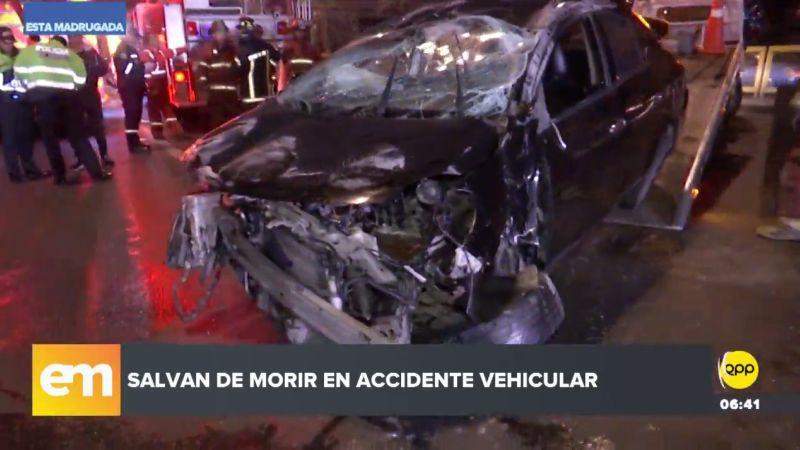 Así quedó el coche de Luis Fernando Monzón Caycho tras el violento choque.