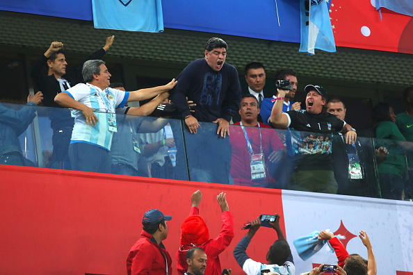 Diego Maradona y su loca celebración en el duelo entre Argentina y Nigeria en el Mundial.