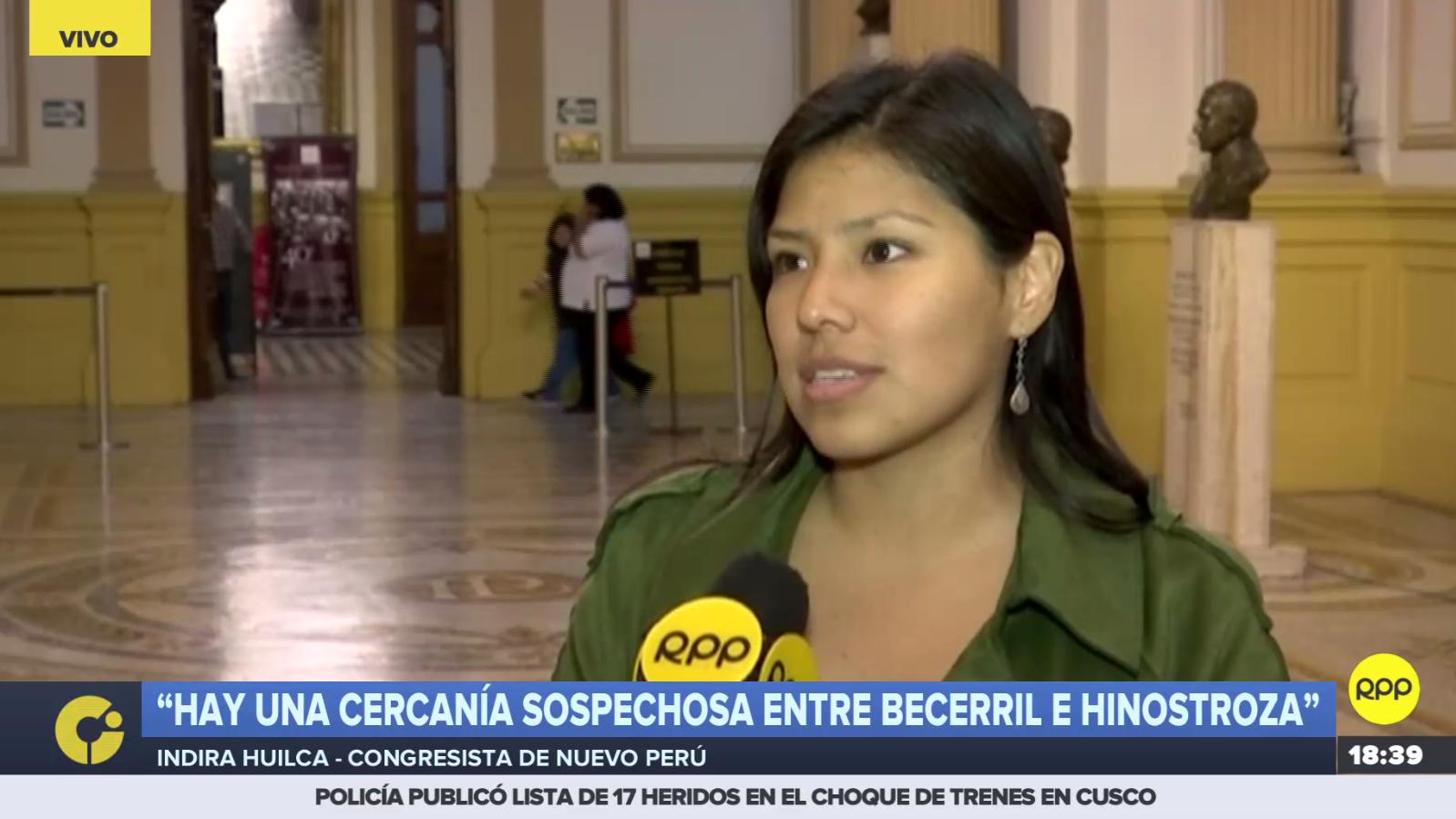 Para Indira Huilca, el lagislador de Fuerza Popular Héctor Becerril ha cometido posibles delitos.