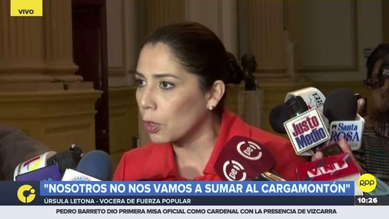 "Úrsula Letona aseguró que Fuerza Popular ""no se va a sumar al cargamontón contra Pedro Chávarry""."