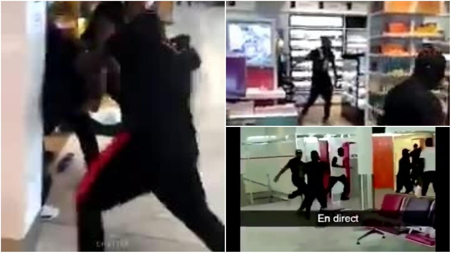 Videos muestran cómo las peleas se extienden hasta las tiendas del aeropuerto.