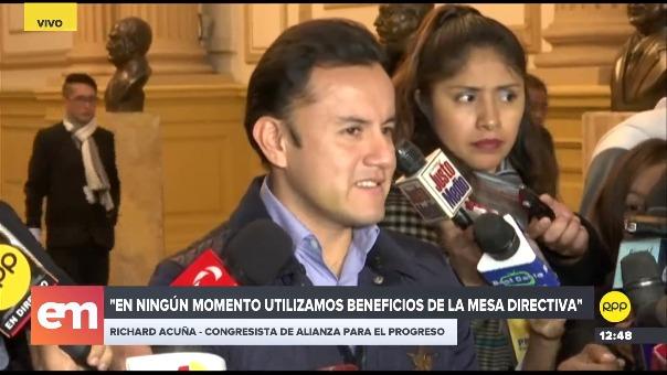 Richard Acuña respondió sobre los beneficios de la Mesa Directiva que integró.