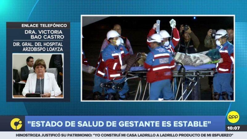La directora del Hospital Loayza confirmó que el bebé que espera la mujer también está fuera de peligro.