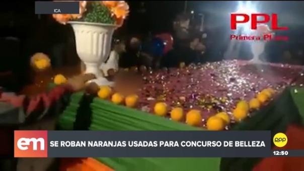 Se realizaba la elección de la Reina de la Festividad de la Naranja y los decorados de esta fruta fueron intempestivamente retirados por el público.