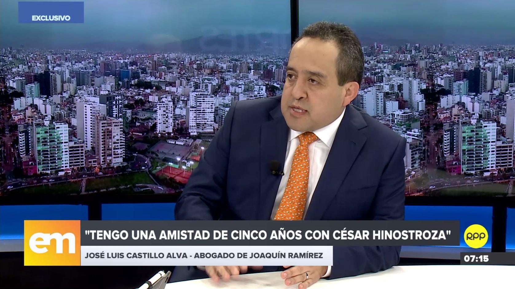 Abogado de Joaquín Ramírez, José Luis Castillo Alva, se pronuncia sobre reunión con Hinostroza y Ríos en RPP.