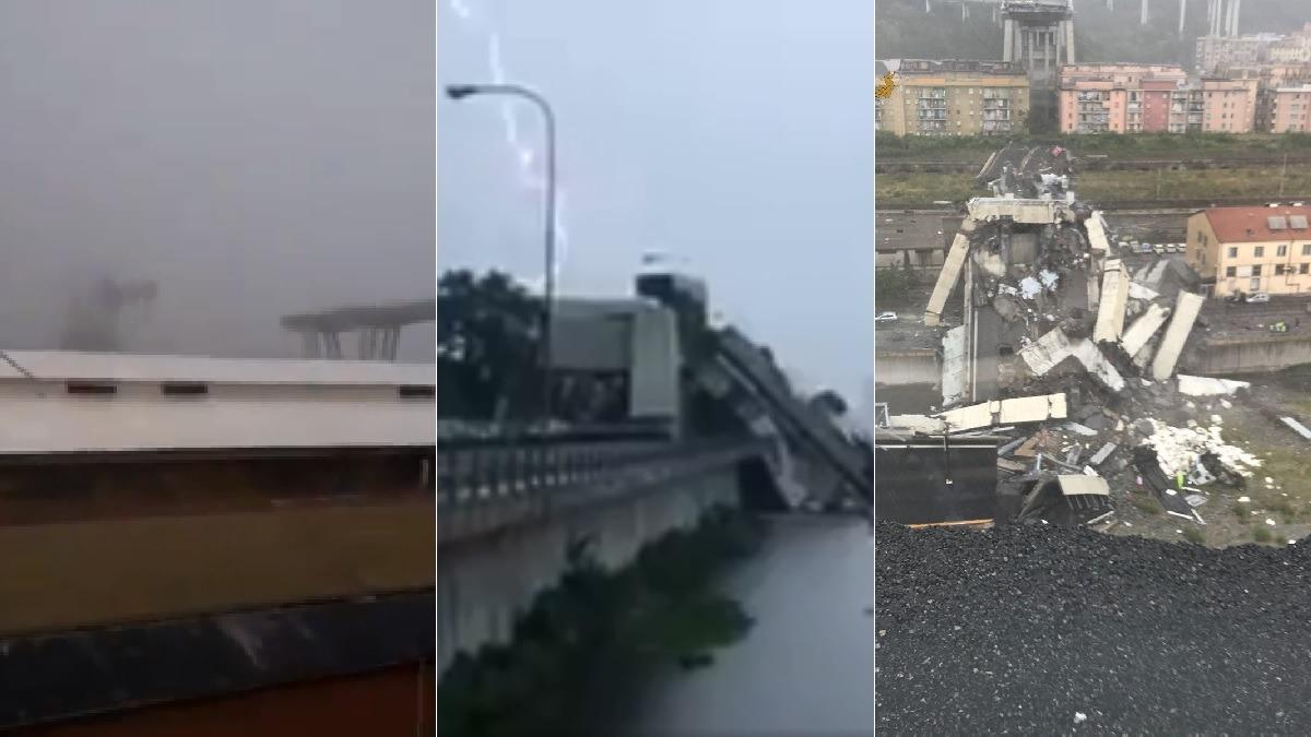 Testigos y autoridades grabaron imágenes de la caída del puente.