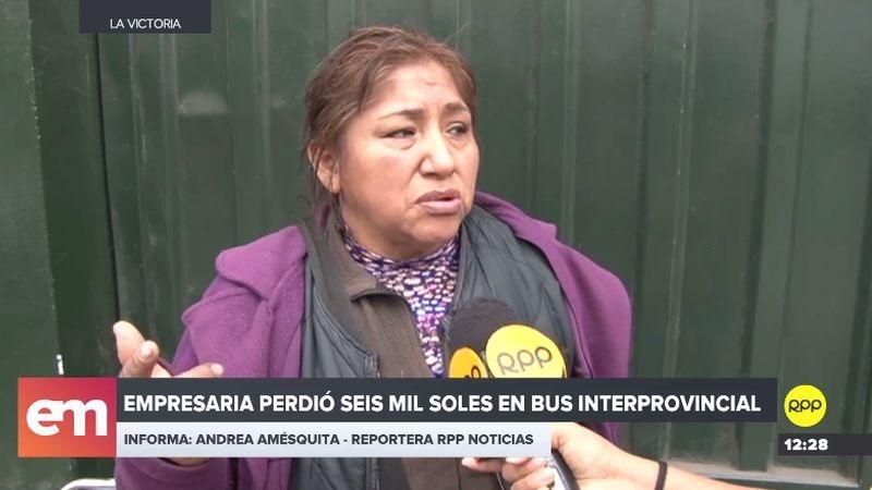 La mujer denunció el presunto robo de una fuerte suma dentro del bus que la trajo de Pisco.