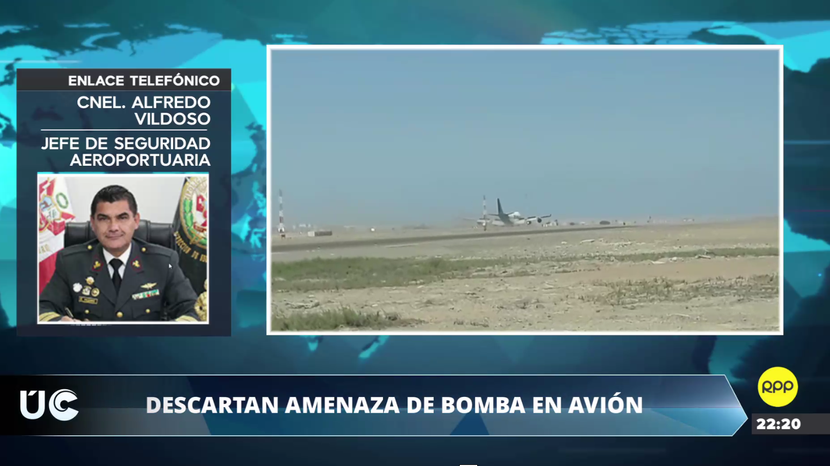 Jefe de Seguridad Aeroportuaria descartó amenaza de bomba en avión que aterrizó de emergencia en Pisco.