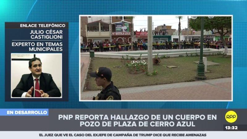 Julio César Castiglioni aseguró que el municipio de Cerro Azul era el responsable de tapar el pozo donde fue encontrado un cadáver esta mañana.