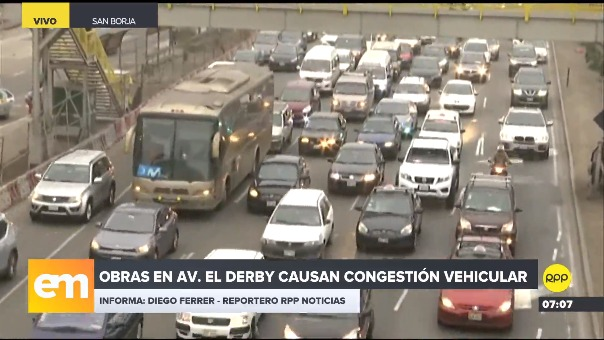 Obras en la avenida El Derby causan congestión vehicular.