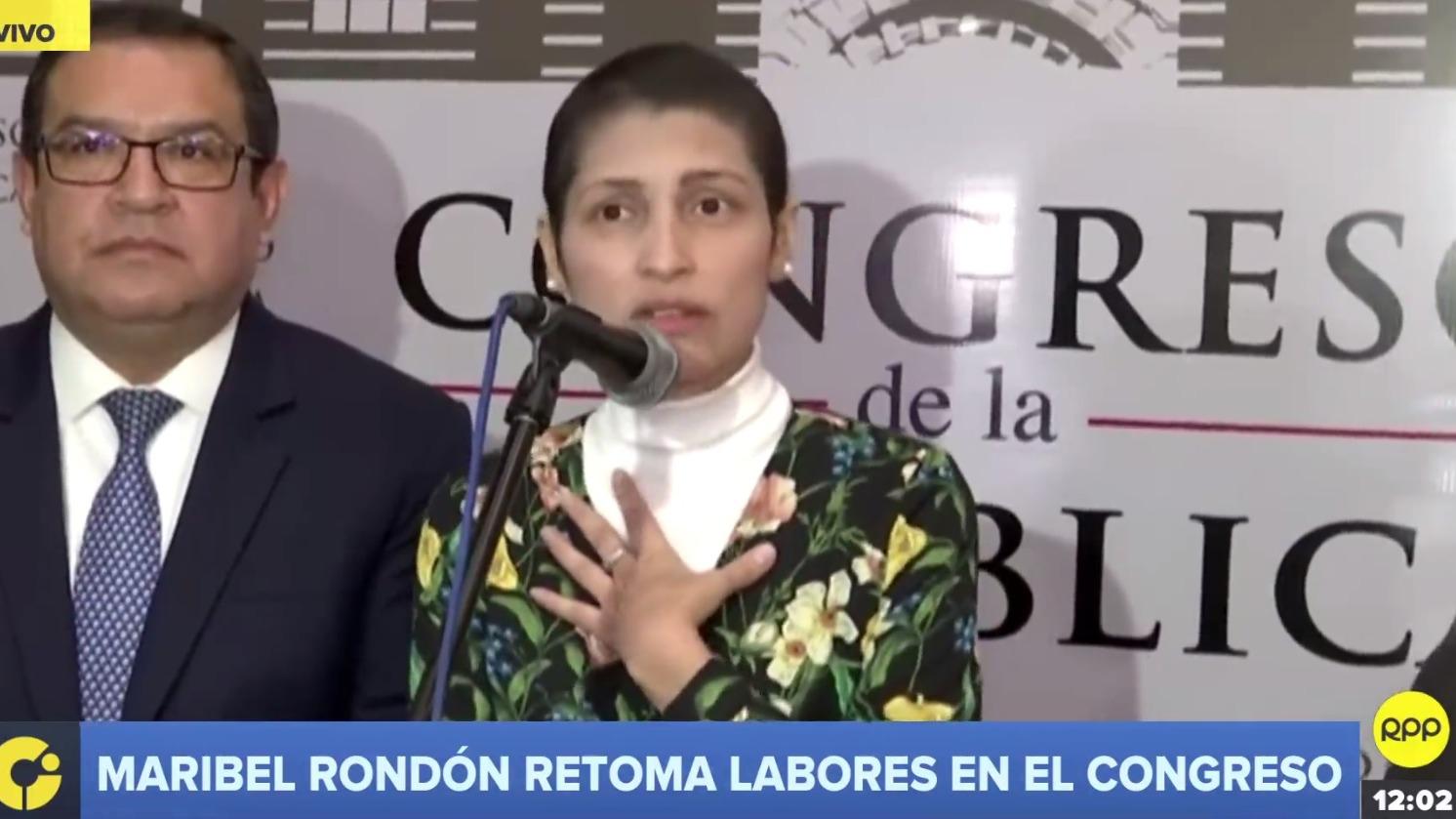 Maribel Rondón retoma labores en el Congreso