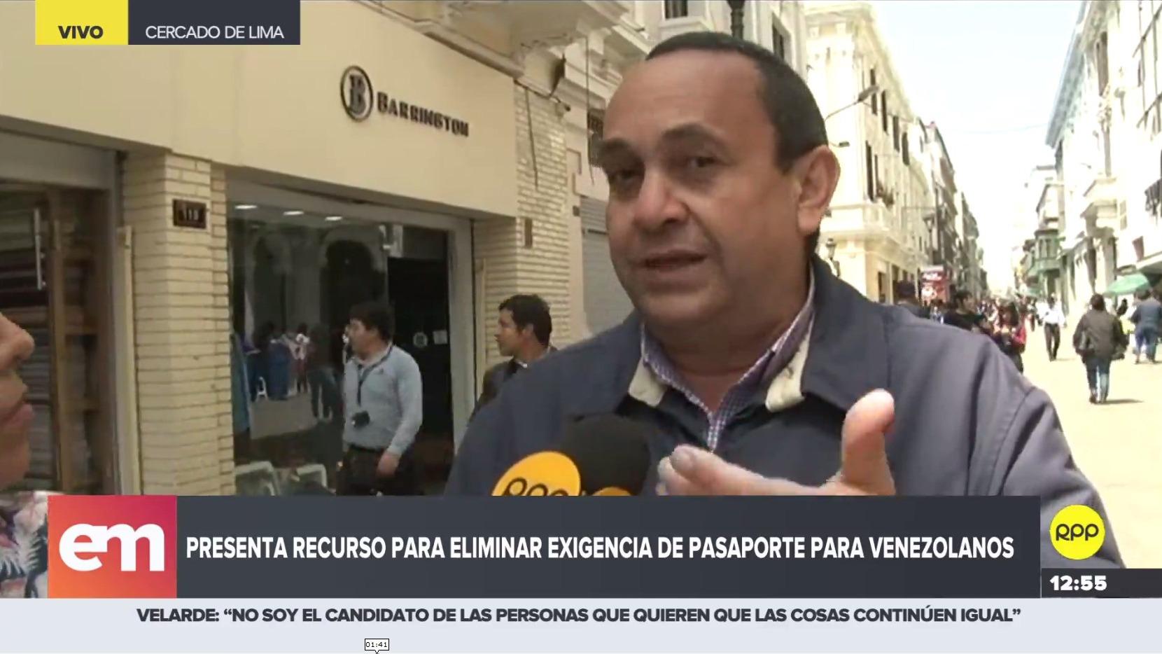 Venezolanos en Perú presentan recurso para eliminar de manera parcial la exigencia de pasaporte.